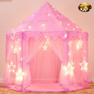 Senodeer Princess Tent for Girls Play Castle Fairy Tents for Kids Large Hexagon Play House with Little Star Lights Toys for Children or Toddlers Indoor or Outdoor Games -- ASTM Certified