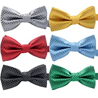 "YOY Handcrafted Adorable Pet Bow Ties - 6-pack Adjustable Neck Tie 11.4""-18.5"" Polka Dots Bowties Dog Collar Neckties Kitty Puppy Grooming Accessories for Doggy Cat, 6 Colors"