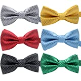 YOY Handcrafted Adorable Pet Bow Ties - 6-pack Adjustable Neck Tie 11.4''-18.5'' Polka Dots Bowties Dog Collar Neckties Kitty Puppy Grooming Accessories for Doggy Cat, 6 Colors
