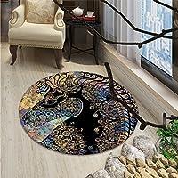 Unicorn Round Area Rug Fairytale Unicorn Profile with Ethnic Circular Mandala and Flower Boho Motif ArtworkOriental Floor and Carpets Multi
