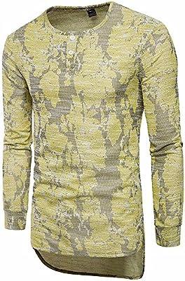 Suéter de manga larga con botones y cuello redondo, para hombre ...