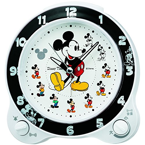 Seiko clock character alarm clock Mickey Mouse plastic frame ( white pearl paint ) FD461W