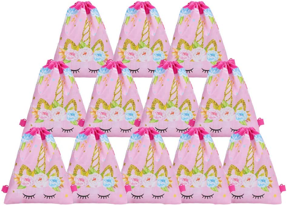 12 Pack Unicorn Drawstring Bags For Party Favors Suppli Party Supplies
