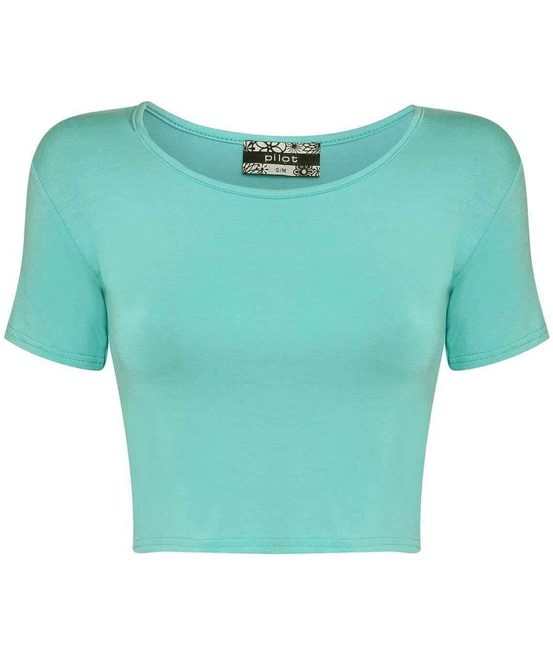 f60554c1d0c Pilot Mia Plain Cap Sleeve Crop Top Aqua Blue, size M/L: Amazon.in:  Clothing & Accessories