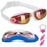 Swim Goggles with Nose Clip + Ear Plugs + Case, Clear No Leaking Anti Fog UV Protection Triathlon Swimming Glasses for Adult Men Women Youth Kids Child