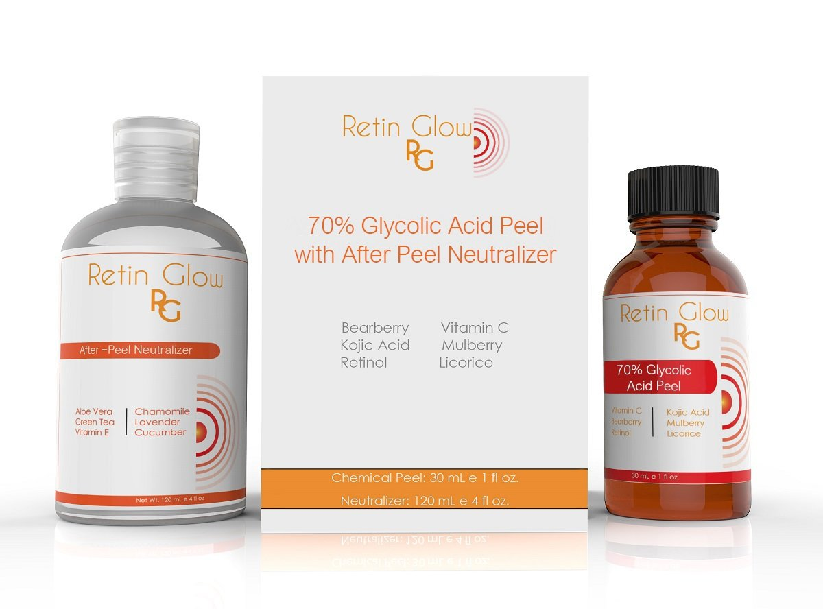 Glycolic Acid 70% Gel Peel Including After Peel Neutralizer Facial Peel Contains Retinol Vitamin C Kojic Acid Licorice Bearberry Tea Mulberry. Acne Treatment Perfect Medium Strength Chemical Peel