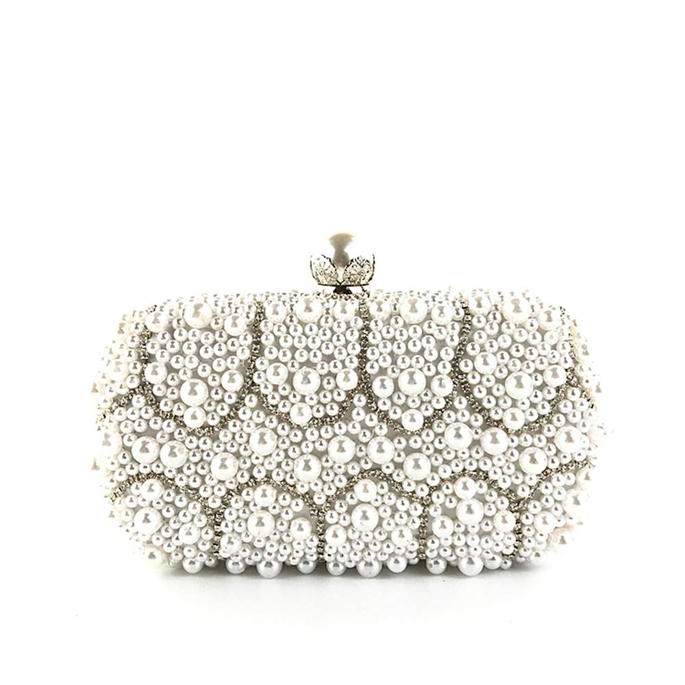 Evening bag Hand-stitched pearl dress party Evening Clutch Purse Party silver Chain bag(white)