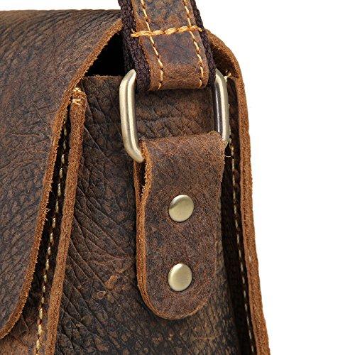 Genda 2Archer Unisex Piccolo Retrò Pazzesco del Cuoio di Cavallo Borsa Tracolla Messenger (23.5 cm* 9cm *18cm )