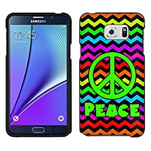 Samsung Galaxy Note 5 Case, Snap On Cover by Trek Peace on Chevron Rainbow Black Case