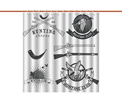 IPrint Shower Curtain HuntingHunting Store And Club Labels Duck Goose Mallard Shotgun Rifles