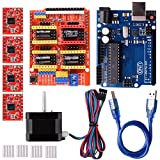Quimat Arduino CNC Shield Contoller Kits for 3D Printer,CNC Shield V3.0 + UNO R3 Board + Nema 17 Stepper Motor + A4988 Stepper Motor Driver + Heat Sinks,Perfectly Compatible with GRBL QD06C