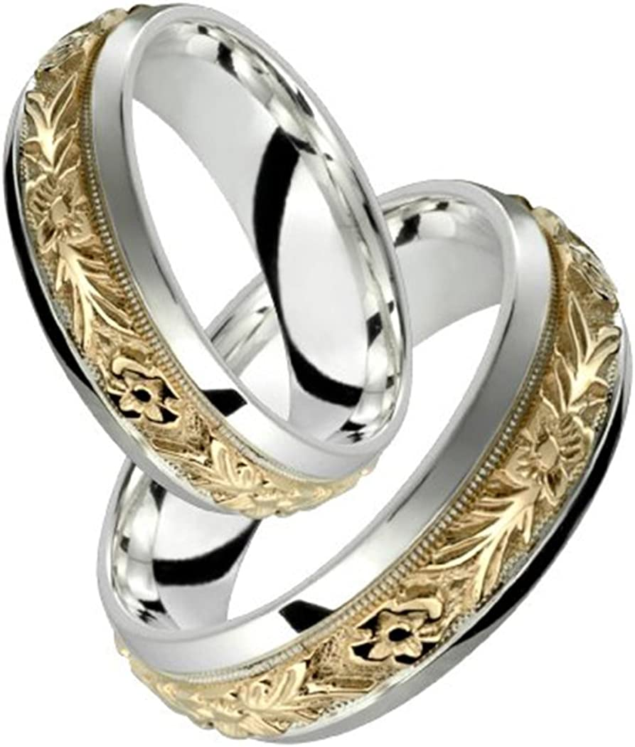 Ring Size 11.5 Sterling Silver /& 10k Yelllow Gold 5mm .05 CTW Diamond Band Size 11.5