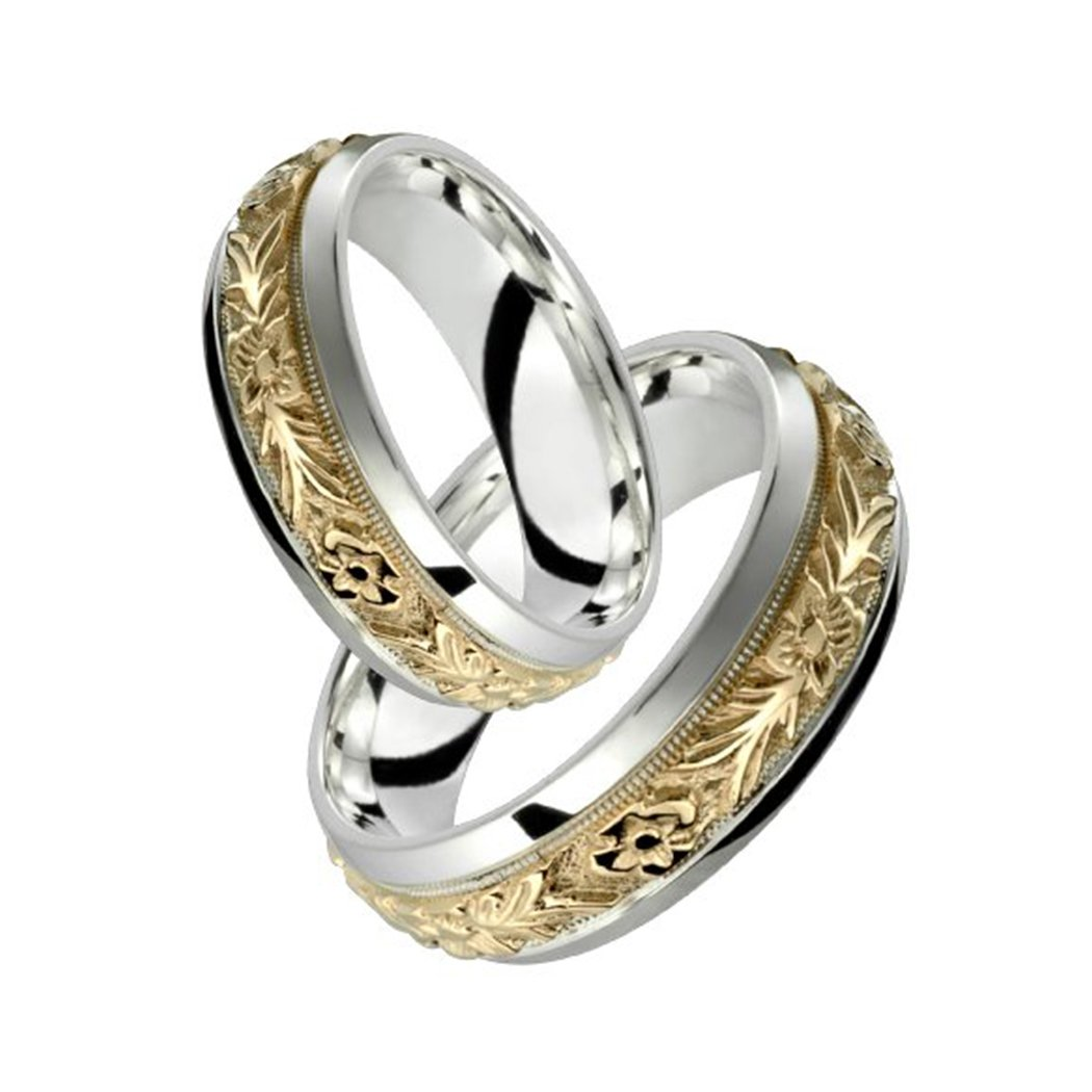 Alain Raphael 2 Tone Sterling Silver and 10k Yellow Gold 7 Millimeters Wide Wedding Band Ring Set