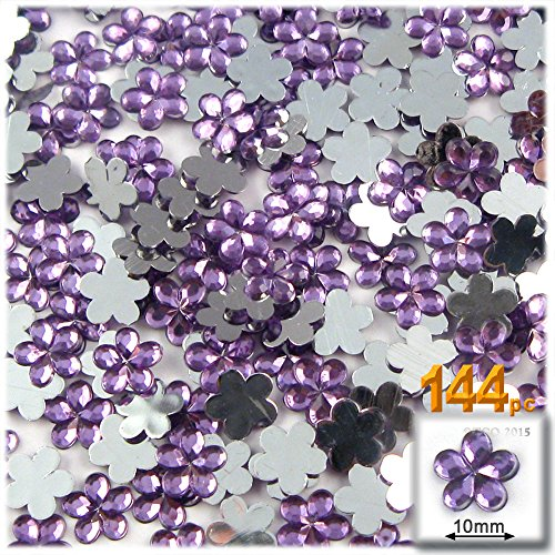 The Crafts Outlet 144-Piece Acrylic Aluminum Foil Flat Back Flower Rhinestones, 10mm, Lavender/Light ()