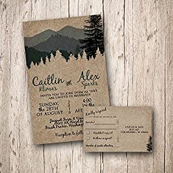 Custom Woodland Wedding invitations with RSVP card, Forest Wedding, Mountain Wedding Rustic Wedding, Camping Wedding, country wedding, outdoor wedding, nature wedding (Sold in sets of 10)
