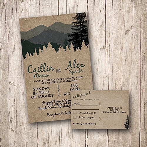 Custom Woodland Wedding invitations with RSVP card, Forest Wedding, Mountain Wedding Rustic Wedding, Camping Wedding, country wedding, outdoor wedding, nature wedding (Sold in sets of 10) ()