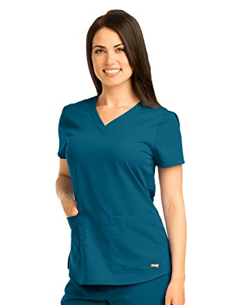 25a7154a03803 Barco Grey's Anatomy Women's 71166 Two Pocket V-Neck Scrub Top With  Shirring Back