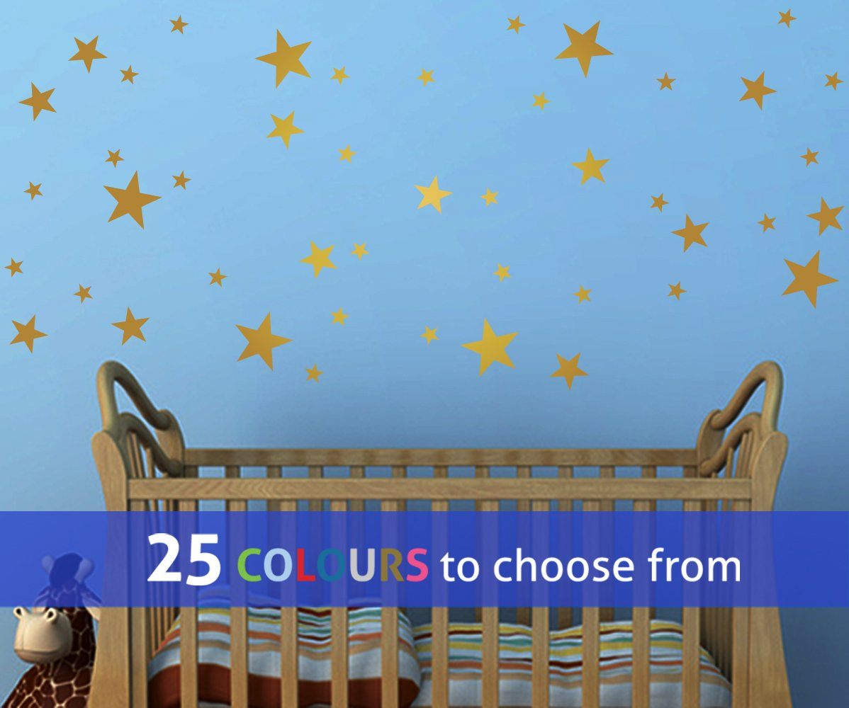 Pack of 45 MIXED size STARS, 1, 2 and 3 INCH star shapes wall art sticker decal, confetti stars, for baby boys, girls nursery, beauty salon, GOLD (METALLIC) TopZog