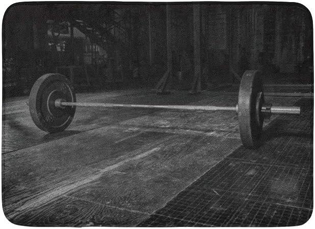 Soefipok Alfombra de baño Caja Crossfit Barra Gym Equipment Metal Pesas Plate Muerto Baño Decoración Alfombra: Amazon.es: Hogar