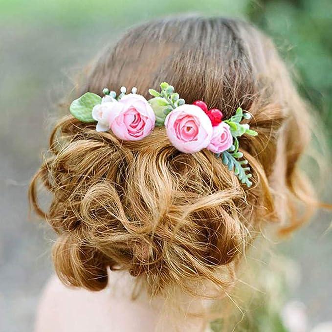 Spring wedding White peony hair clip Flower girl hair UpDo Greenery Bridesmaide barrette Wedding hair accessory Flower bride hair piece