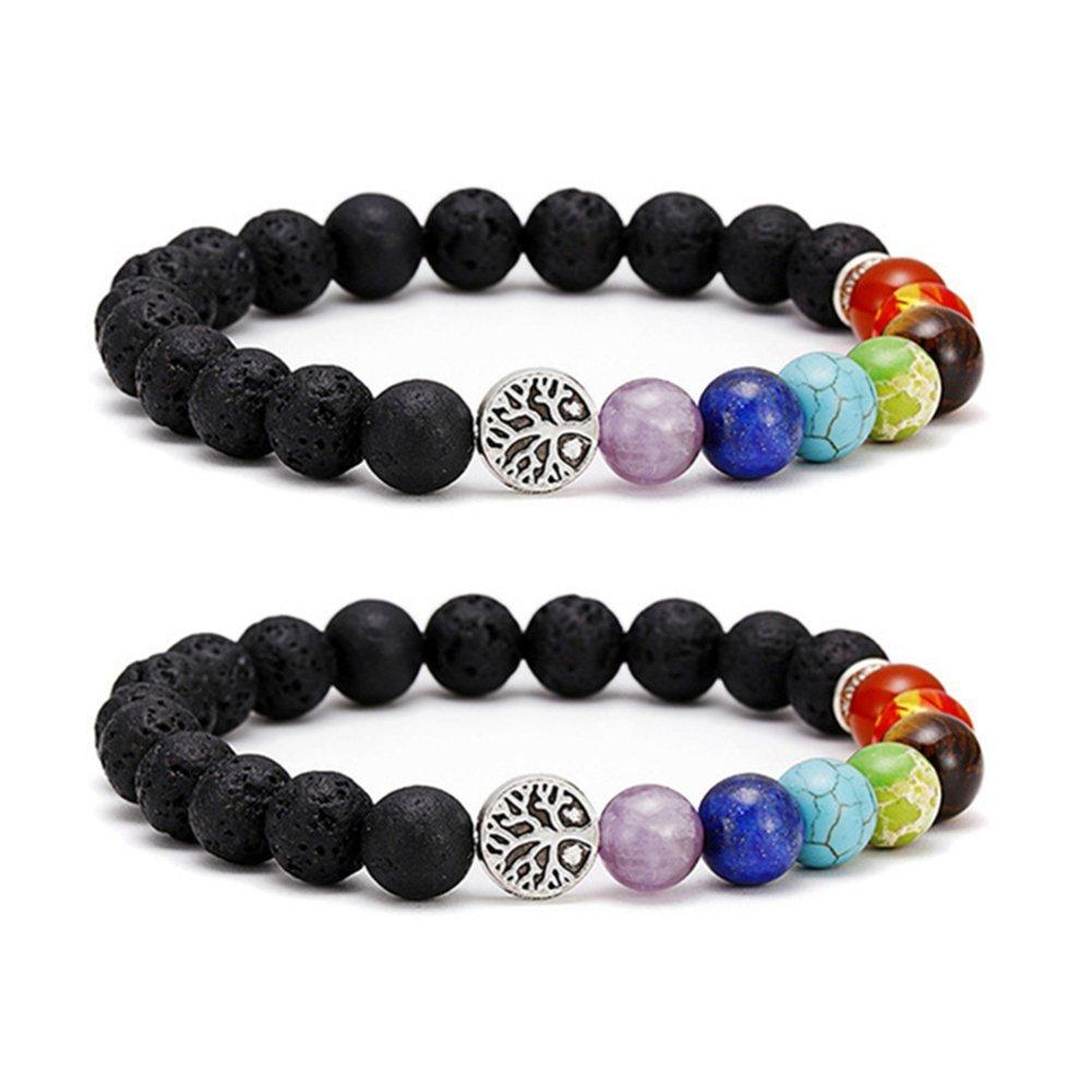 SIVITE Lava Rock 7 Chakra Beads Bracelet Tree of Life Essential Oil Diffuser Yoga Healing Energy Bracelet YLL BBEAD-110