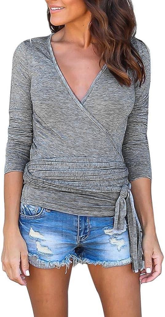 Ode/_Joy Top a Manica Lunga con Scollo V in Tinta Unita Camicia Maniche Lunghe Collo Alto Plus Size Maglie Donna Bluse e Camicie Magliette Manica Lunga V-Collo Casual Elegante Shirt Bello