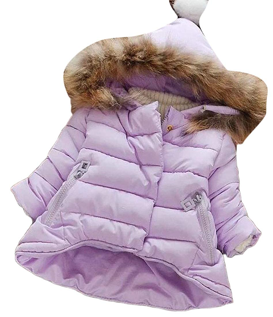 Sweatwater Girls Adorable Zip-Front Faux Fur Hooded Fleece Cotton Padded Parka Jacket