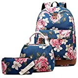 Abshoo Floral Backpacks For Girls Canvas School Bookbags Teen Girls Backpacks With Lunch Bag (Floral Navy)