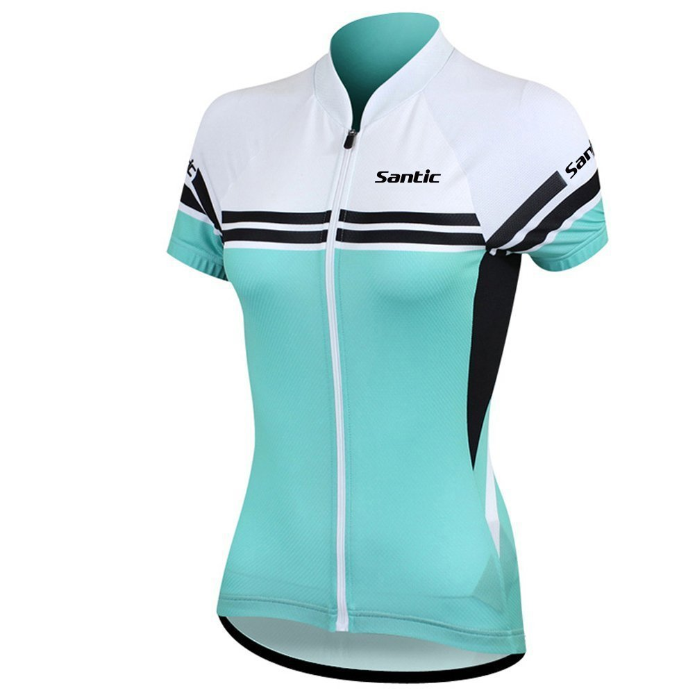 Santic Women's Full-Zip Short Sleeve Cycling Jersey Medium Green by Santic