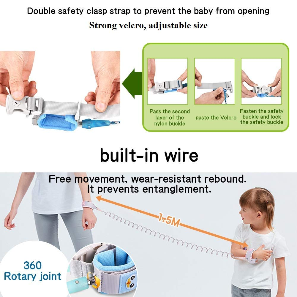 Eidyer Kinder Sicherheitsleine Anti-verloren G/ürtel Handgelenk Link BLUE 1.5 Kinder Leine Handgelenk