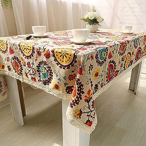 Mantel de tela de algodón natural y puntilla de lino, con diseño ...