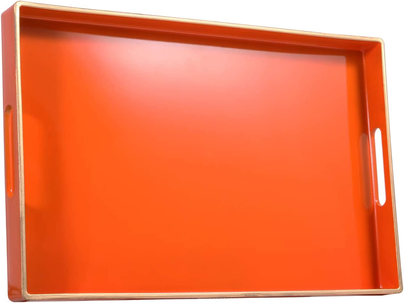 """Zosenley Decorative Tray, Rectangular Plastic Tray with Handles, Modern Vanity Tray and Serving Tray for Bathroom, Kitchen, Ottoman and Coffee table, 15.6"""" x 10.2"""", Orange"""