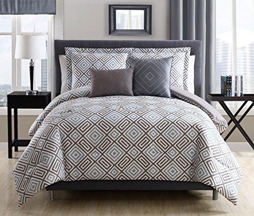 - KingLinen 5 Piece Kendall Gray/Mocha Reversible Comforter Set Queen