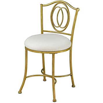 Wondrous Amazon Com Metal Vanity Chair Golden Bronze White Gmtry Best Dining Table And Chair Ideas Images Gmtryco