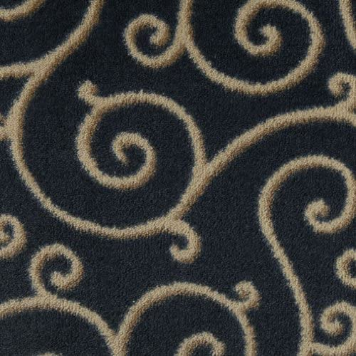 Koeckritz Oval 5 x8 Traces Imperial Blue Indoor Cut Pile Pattern Area Rug for Home with Premium Bound Polyester Edges.
