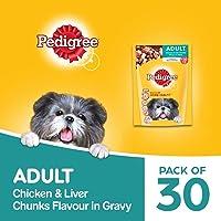 Pedigree Gravy Adult Dog Food Chicken & Liver Chunks, 2.4 kg (Pack of 30)