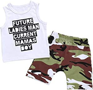 (6 Months-24 Months) Infant Baby Boy Kid Letter Printed Vest Tops+Camouflage Shorts Outfits Set Baby Sleeveless Lettering