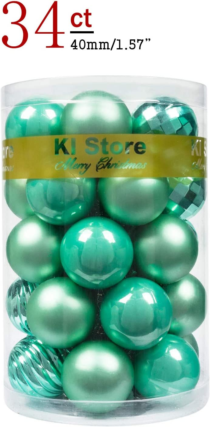 KI Store Christmas Balls Peppermint Green Small Shatterproof Christmas Tree Ball Ornaments Decorations for Xmas Trees Wedding Party Home Decor 1.57-Inch Hooks Included