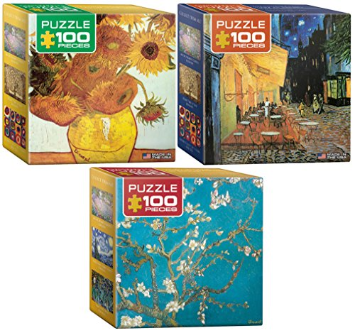 Eurographics Van Gogh Fine Art Jigsaw Puzzle Set: Three 100 Piece Puzzles for Adults - Vincent Van Gogh 12 Sunflowers, Cafe Terrace at Night and Almond (Gogh Set)