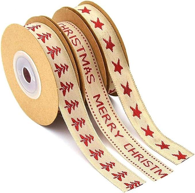 TYY-guang 3 Rollos de Cinta de algodón de Navidad Cinta Decorativa de Bricolaje proyectos del Arte y de la Cinta temáticas Envoltura Accesorios de Boda Decrative: Amazon.es: Hogar
