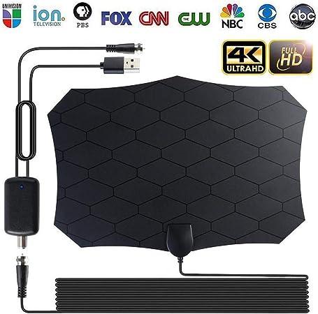 YanLin Amplificador De Señal De Interior 4K Antena De TV Digital HDTV 4K 120Km Rango 28DB para Antena Receptor De Señal De TV-con Cable Coaxial De 4 M: Amazon.es: Hogar