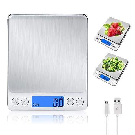Báscula Digital para Cocina con Carga USB,6.6 lbs/3 kg-0.1g