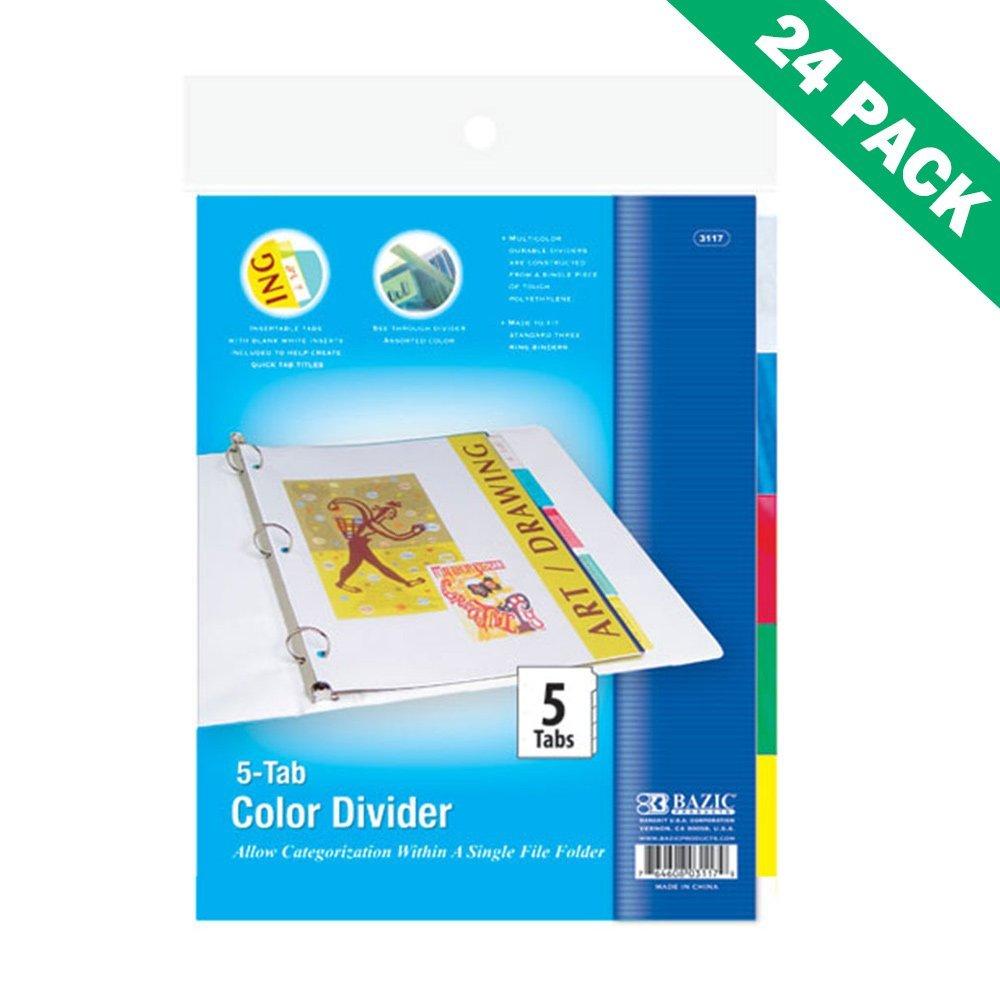 School Binder Dividers, Bazic 3 Ring Binders Dividers 5 Tabs for Index 24 Units