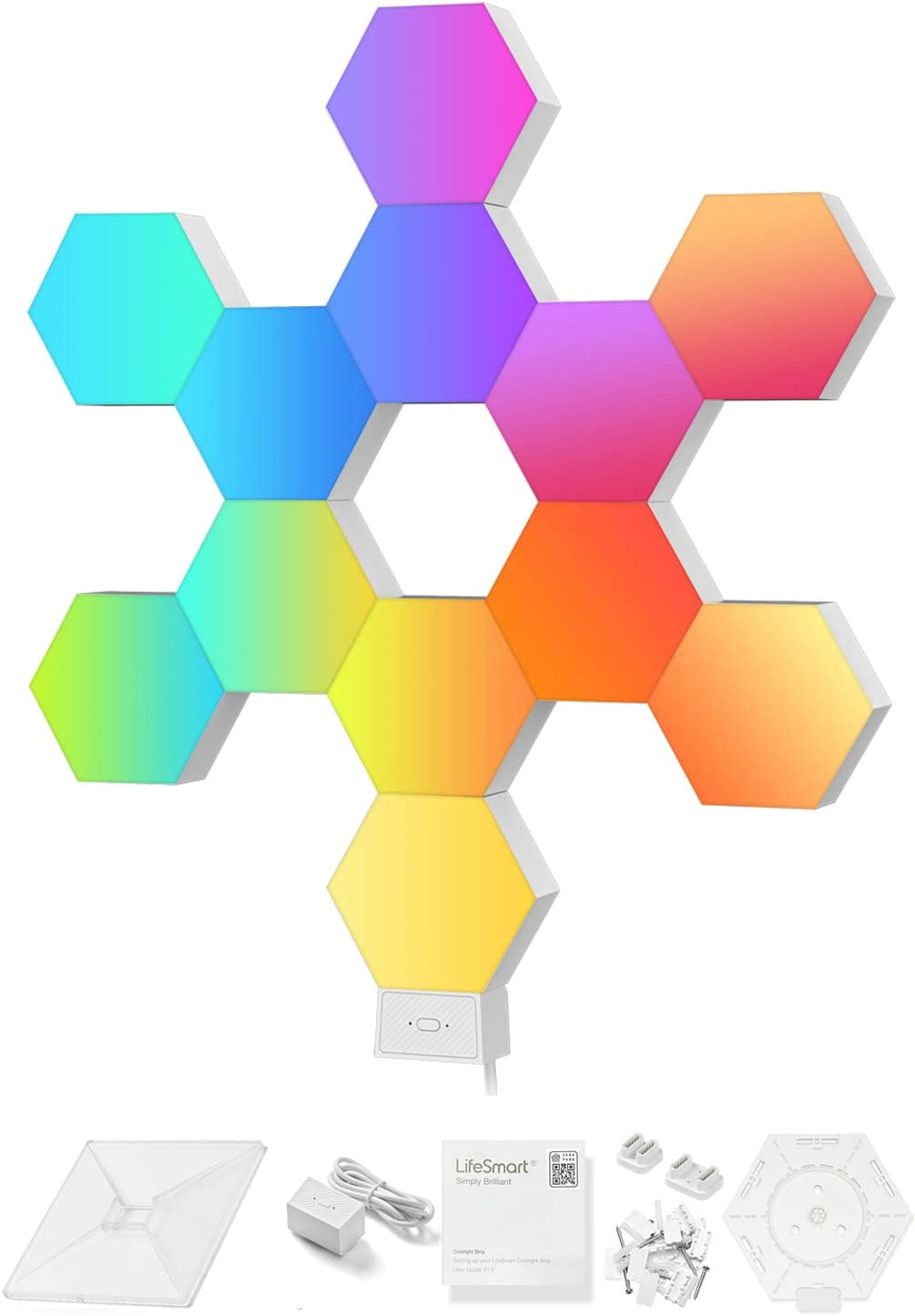 LifeSmart Hexagon LED Wall Light Works with Apple Homekit, APP Controlled LED Lamp Compatible with Alexa, Google Assistant, Cololight WiFi Smart RGB Panel Lights for Gaming Decoration,12pcs Plus Set