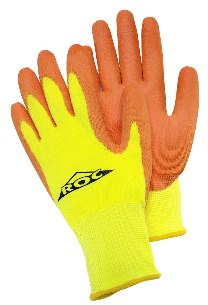 Magid ROC25HVTM ROC Hi-Visibility Shell Polyurethane Coated Palm Glove, Men's Medium