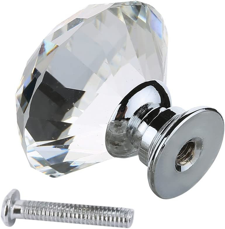 16PCS 40mm Crystal Glass Door Knobs Clear Diamond Pull Handle with Screw for Drawer Cupboard Cabinet Kitchen Home Decorating