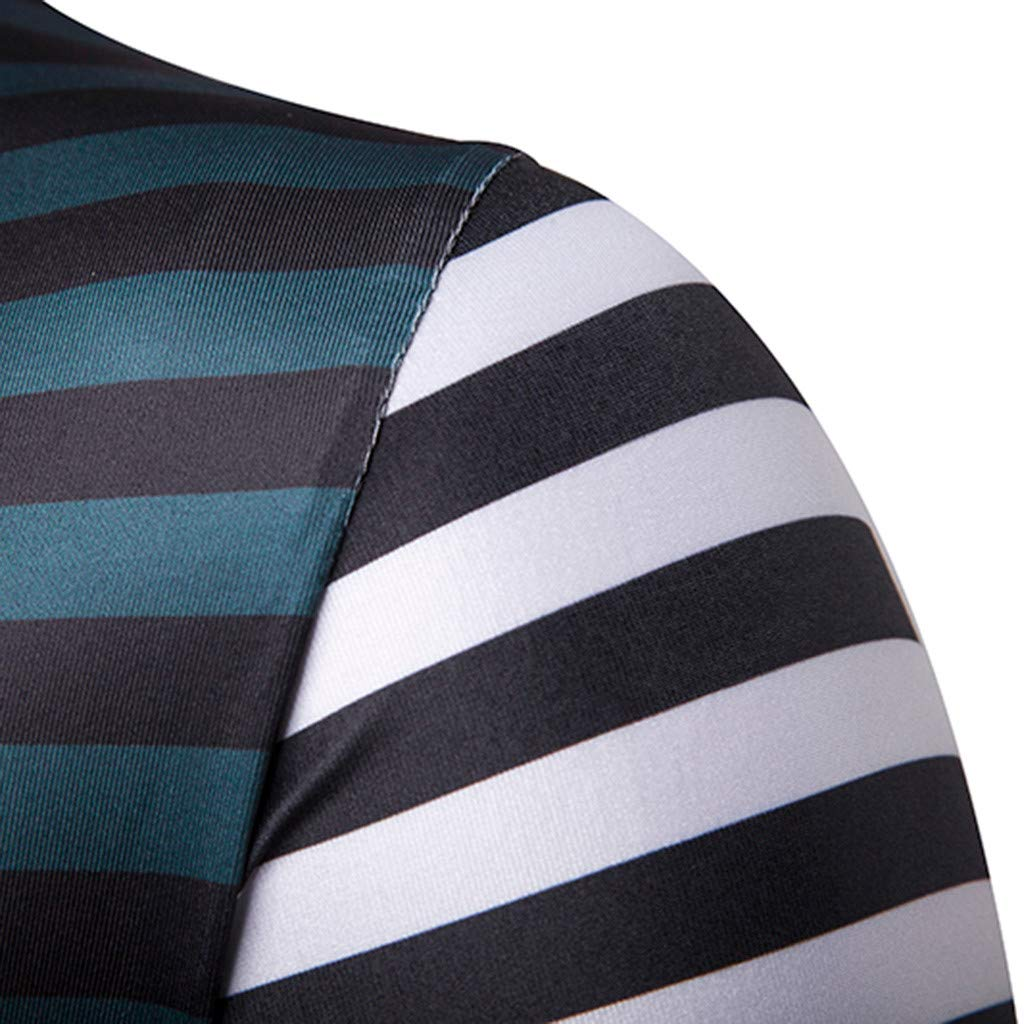 Misaky Mens Fashion Short Sleeve Stripe Painting Large Size Casual Top Blouse Shorts