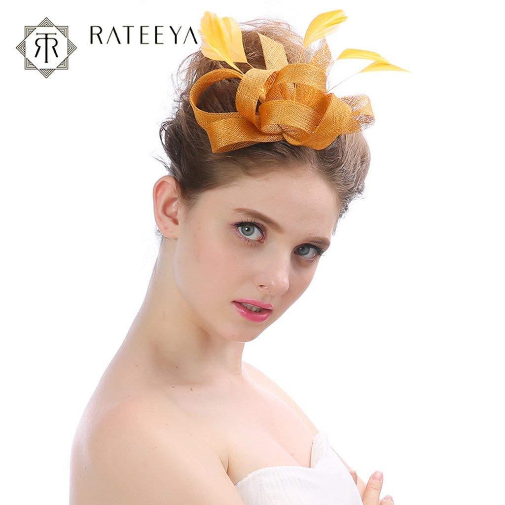 Amazon.com  Fascinators Hats Womens Headwear Veil Flower Mesh Ribbons  Feathers Derby Hat Cocktail Tea Party Wedding 5829364088