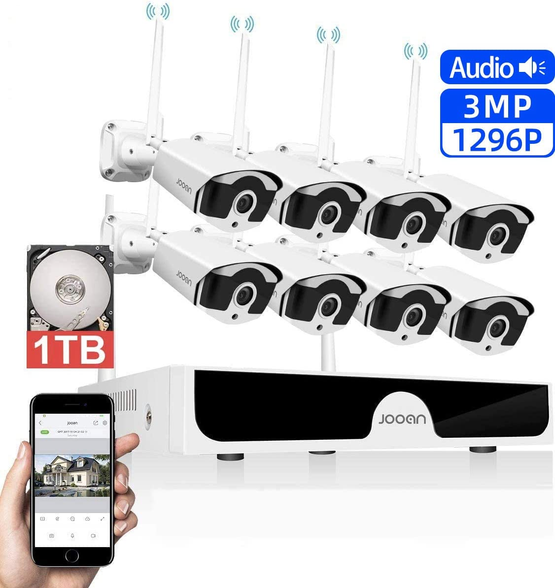 JOOAN 3MP Security Camera System Wireless,8-Channel NVR&8Pcs 1296P FHD (Clearer Than 1080P) Audio Record CCTV Cameras,Waterproof&Good Night Vision,Motion Alert(with 1TB Hard Drive)