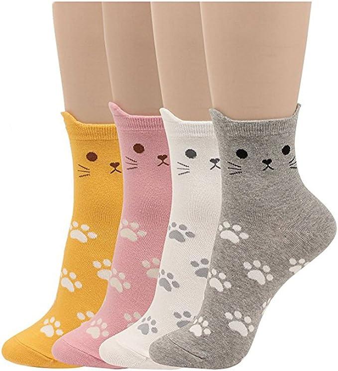 4 paires de chaussettes pour femmes taille unique de Chaussettes Femmes cadeau de Noël Cadeau Carton